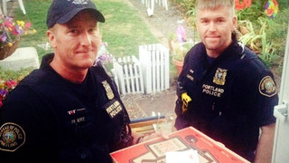 Portland Police Officers Deliver Pizza