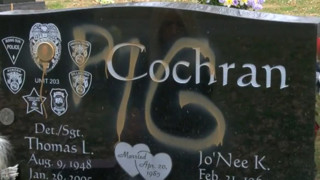 'Pig' Painted on Fallen Officer's Headstone