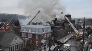 Raw: Fire Destroys Pennsylvania Prison