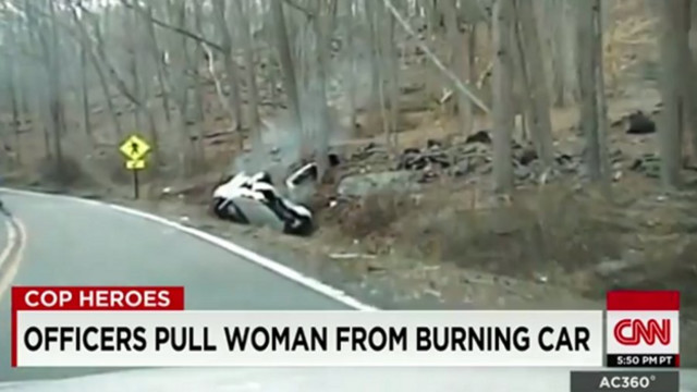 New Jersey Officers Pull Woman From Burning Car