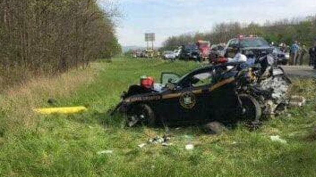 State trooper suffers serious injuries after patrol auto  struck