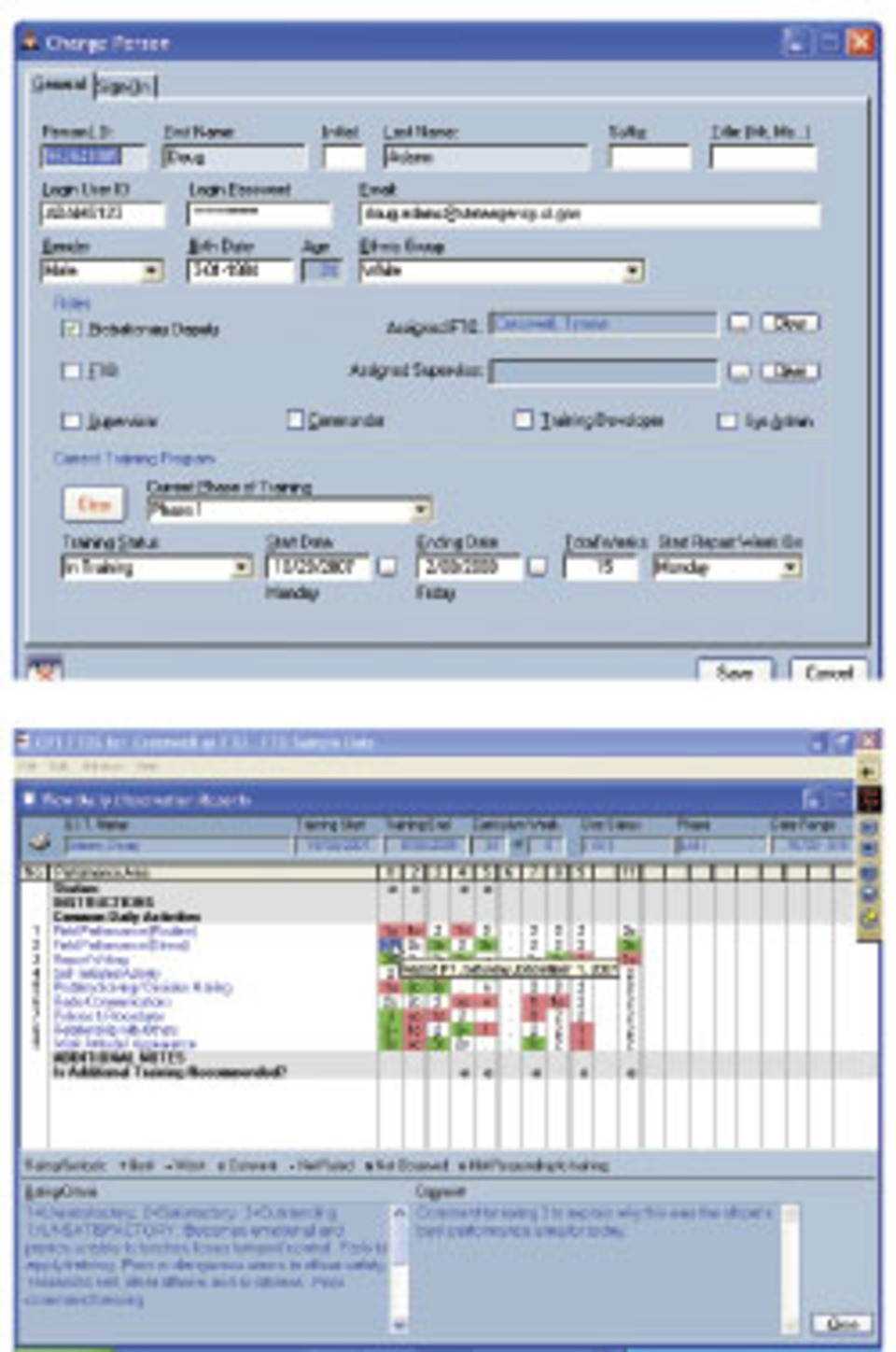 FTO training management software allows program administrators to enter  personal information, and scores recruits in a variety of activities. SHOW  CAPTION