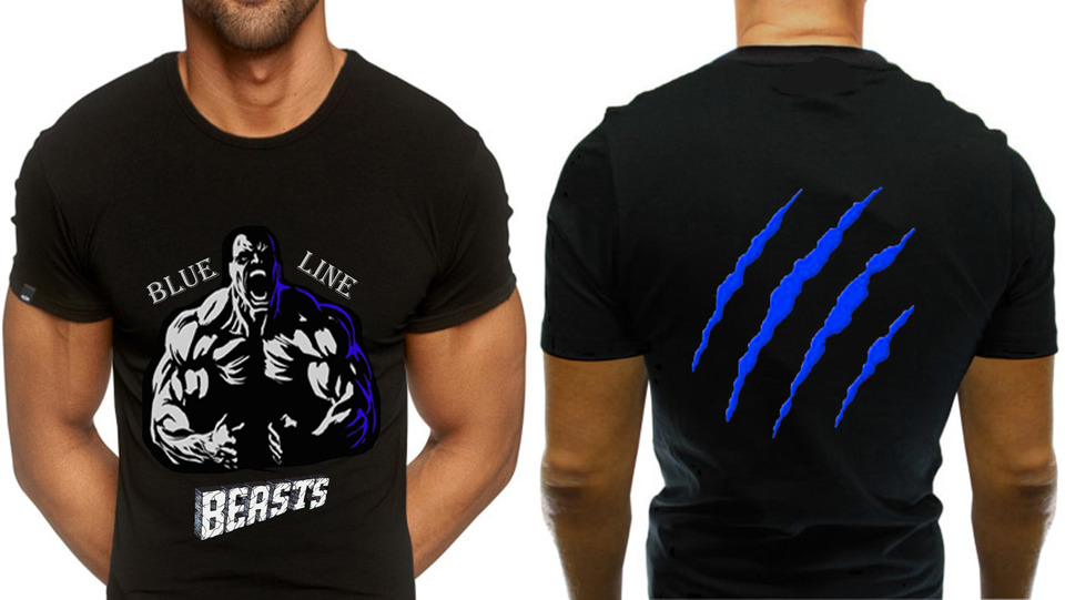 Blue Line Beasts (BEAST) tee shirt. Sizes M-XXL available. Color black shirt . e105fffbb12