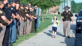 Officers Escort 5-Year-Old Indiana Boy to School After Dad Dies in the Line  of Duty