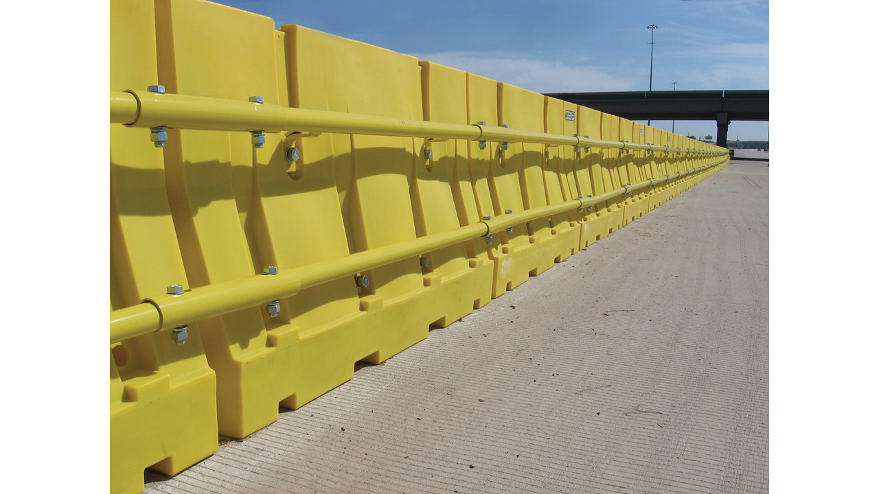 Plastic water filled barriers officer