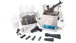 Tabletop, ultrasonic firearm clean and lube systems