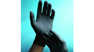 Black disposable exam gloves