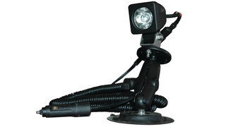 Portable LED with double joint suction cup mount