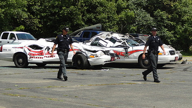 Tractor Crushes Seven Police Vehicles in Vermont.jpg_10755033.jpg