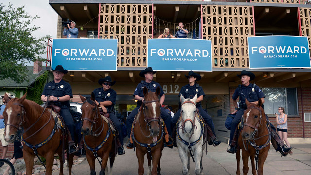 Mounted police stand guard near the Ritchie Center at the first 2012 Presidential Debate.jpg_10798214.jpg