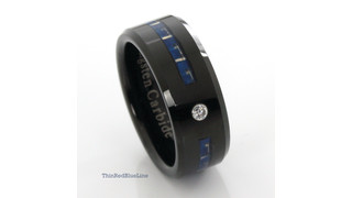 Ring for Law Enforcement: Black Tungsten Carbide with Blue Fiber Inlay and CZ Diamond 8MM
